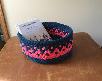 All butted braided basket in dark green,orange and a print