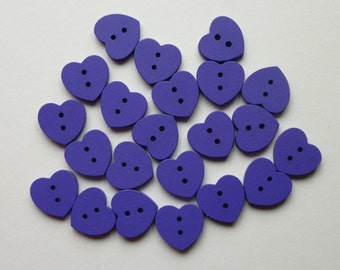 Heart buttons.  Purple hearts. Wooden buttons Set of 12.  Measures 15mm x 13mm approx