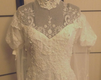 Vintage 50s Ivory lace wedding gown SZ S