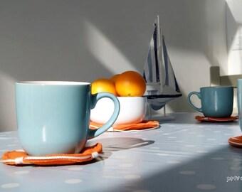 Fabric Coasters Set Of 5 Nautical Kitchen Art