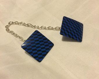 Retro Checkered Blue and Black Button Silver Chain Sweater Clip