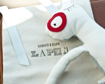 Monsieur Lapin-White Rabbit plush