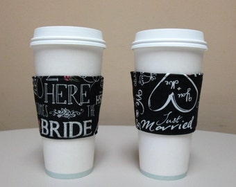Wedding Here Comes Bride Just Married Bridal ,Coffee Cozy,Fabric Coffee Cup Sleeve,Coffee Cup Holder, iced coffee cozy