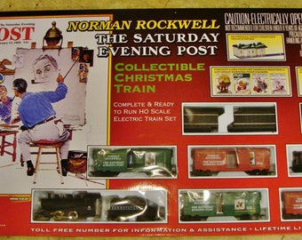 """NEW and SEALED Norman Rockwell """"The Saturday Evening Post"""" CHRISTMAS Train Set"""