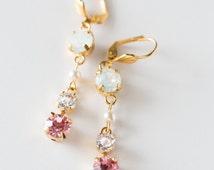 Opal Swarovski Crystals Earring - Vintage earring- Chandelier Earrings - One of a Kind Hand Made