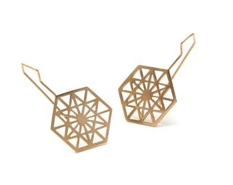 Anahata Sacred Geometry Heart Chakra Hook Earrings