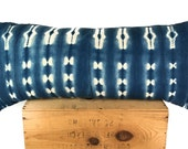 "16x36"" Inch Vintage Indigo African Mud Cloth Pillow Cover"