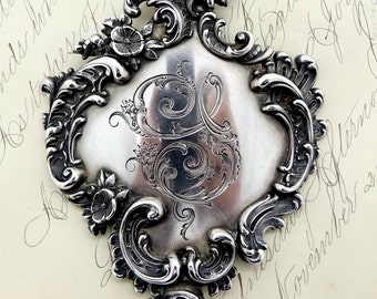 Antique Wm. Kerr STERLING BELT BUCKLE Victorian Sterling Silver Art Nouveau Cherub Scrolling Design Sash Style Belt Buckle