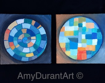 """Windows  -  2 Original 5"""" x 5"""" Abstract Acrylic Paintings on Canvas in This Set"""