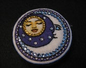 GLITZY MOON & Sleeping SUN-Sapphire and Sunflower Swarovski Crystals-Wearable Magnetic Pin-Yoga Bling