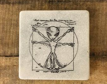 Alien Stone Coasters, Tumbled Marble, Home Decor, Set of Coasters