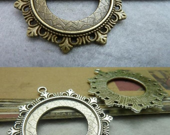 10pcs Antique Bronze Antique Silver 30mm Bezel Cup Cabochon/ Cameo Mountings AC6947