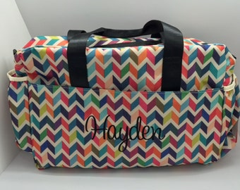Monogrammed Diaper Bag for girls, Monogram Baby Girl diaper Bag, personalized baby gift, Baby Shower Gift, personalized diaper bag chevron