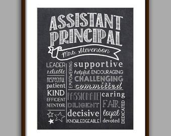 Assistant Principal Gift,  Principal Chalkboard Printable, Principal Christmas,  Digital File 8x10 JPG File