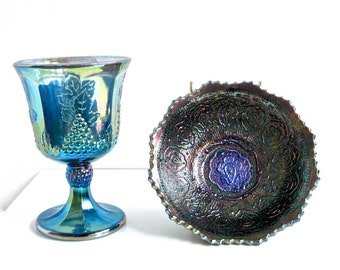 Lot Vintage Blue Carnival Glass x2 • Fenton Persian Medallion BOWL •  Indiana Glass GOBLET • Iridescent Pressed Glass