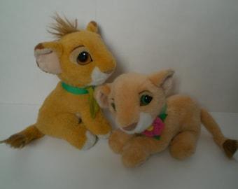 1993 Disney Lion King Purring Nala + Simba Cub Plush Lot of 2 Stuffed Animal
