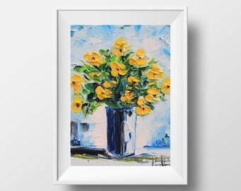 Poppy Print, Floral Print, Flower Print, Yellow Poppies, Romantic Gift, Fine Art, Palette Knife Painting, Flower Painting, Poppies, Poppy