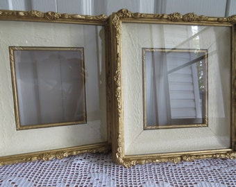 Gold Cream Wooden Frame Set Vintage Home Decor Country Cottage Farmhouse