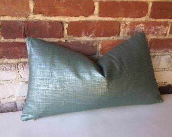 Metallic Linen Pillow Cover in Teal/Silver Platinum/silver or Copper/gold  12x18 12x21 16x16 18x18 20x20 16x26 22x22 24x24 26x26 14x36-345Y