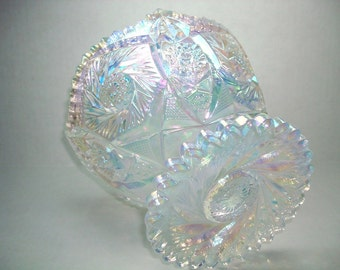 Vintage Iridescent Glass Bowl, Clear Crystal Lustre Compote, L E Smith Carnival Glass Bowl