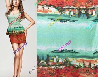 HUGE DISCOUNT cdk-4045 Earth Red View Nice Digitally Print Natural Pure Silk Fabric Crepe de Chine by Meters/ Yards Dressmaking Material