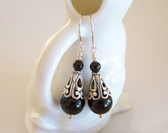 Black Onyx Gemstone and Sterling Silver Drop Earrings - Item E2206