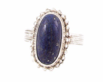 Blue Lapis Lazuli and Sterling Silver Ring - Size 6.5
