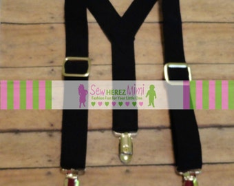 BLACK Neutral Suspenders Infant, Toddler, Child, Youth Sizes