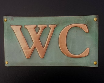 "WC toilet lavatory copper plaque sign  in 2""/50mm  Garamond, or your initials ?"