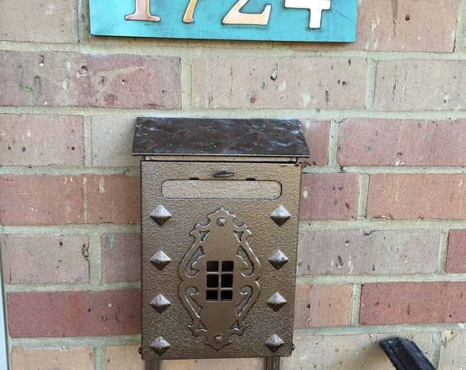 "Address plaque in Garamond with plywood back, 3""/75mm or 4""/100 mm, 4 x nos. custom made in copper, fitting for stucco, brick and timber o"
