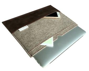 natural beige felt-leather MacBook briefcase, MacBook sleeve, Scandinavian design, Mac Air 13 felt-leather bag, Mac Pro 13 retina soft cover