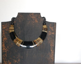 Chunky Necklace - Tibetan Beads - Classic Statement Jewelry Short Choker - Black Amber Horn Honey Color