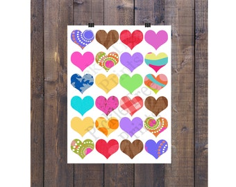24 Hippy Hearts Clipart Set for Personal and Commercial Use