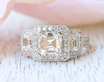 Guinevere Asscher Cut Engagement Ring