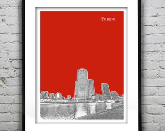 Tampa Florida Skyline Poster Art Print FL Version 3