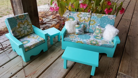 Living Room Set For American Girl Doll Aqua Blue By Craftsbyla