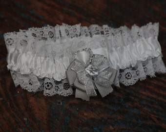 Brides Wedding Garter - With Hand Made Bow - Silver Wedding Garter (All Colours Available)