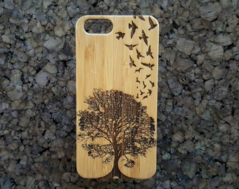 Birds in Flight iPhone 7 Plus Case. Eco-Friendly Bamboo iPhone Cover Skin Swallows Nature Natural Freedom Flight Tree Design. iMakeTheCase