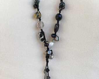 Beaded Lariat Necklace Black Silver Tan