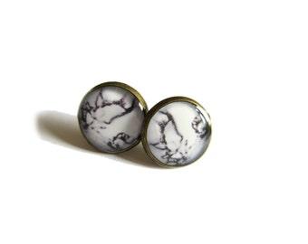 MARBLE STUD EARRINGS - White Marble Stud Earrings - Feminine Modern Marble Jewelry - Gift to Her - marble jewelry - geometric earrings