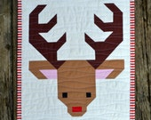 "Deer 12"" Block Quilt Pattern, PDF, instant download, reindeer, Santa, Christmas, holiday, animal, woodland, buck, hunter, modern patchwork"