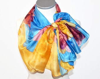 Silk scarf Handpainted- Colorful silk scarf- Hand painted scarf- Blue silk scarf- Yellow scarf- Long neck scarf- Womens scarves- Silk scarf