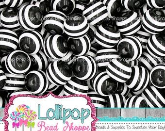 12mm BLACK & WHITE STRIPED Beads Stripe Beads Resin Round Gum Ball Beads Plastic Stripes Gumball Beads Bubble Gum Beads Bubblegum Beads