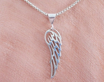 Angel Wing Large Sterling Silver Pendant Charm and Necklace -Angel Wing Charm, Angel Wing Pendant,Angel Wing Necklace,Large Angel Wing Charm