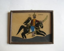 antique  reverse painting glass
