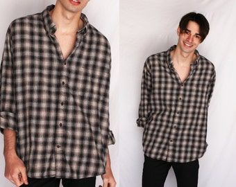 FLANNEL 90s Gray Black Plaid Button Up Long Sleeve Collared 1990s Retro Hipster Extra Large XL