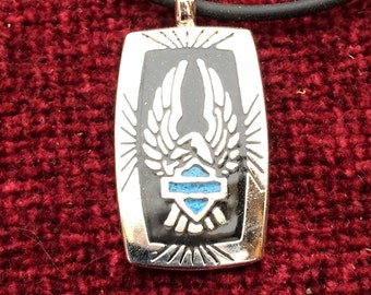 Eagle and Turquoise Shield Pendant Necklace