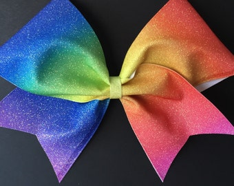 3in. Glitter Rainbow Ombre Cheer Bow