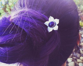 Amethyst Flower Hair Pin Sterling Silver Hair Jewelry, Hair Fork, Hair Comb, Hair Stick