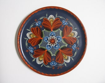 "Norwegian Rosemaling on 8"" wood plate"